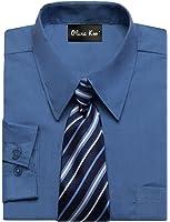 OLIVIA KOO Boys Kids Long Sleeve Solid Color Dress Shirts With Matching Windsor Tie Set