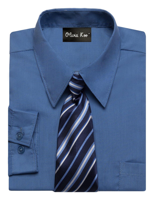 OLIVIA KOO Boys Kids Long Sleeve Solid Color Dress Shirts With Matching Windsor Tie Set,Crystal Blue,4T