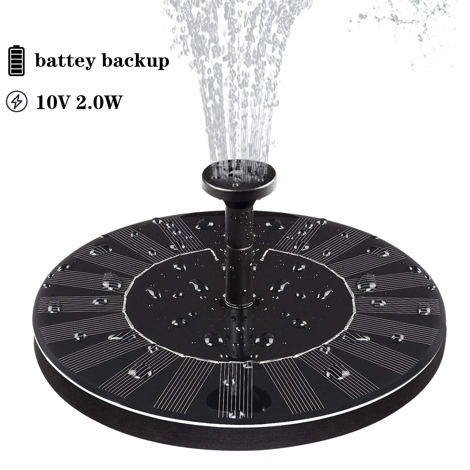 Solar Fountain ,Solar Fountain Pump for Bird Bath with Battery Backup, 10V 2W, Latest Solar Panel Kit Water Pump ,Water Fountain Pump with 4 Different Spray Pattern Heads for Pond, Pool, Garden, Fish by AMYER