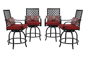 PHI VILLA Outdoor Swivel Bar Stools Bar Height Patio Chairs, Set of 4 Bistro Dining Chairs Garden Furniture Sets All Weather Metal Frame with Cushion