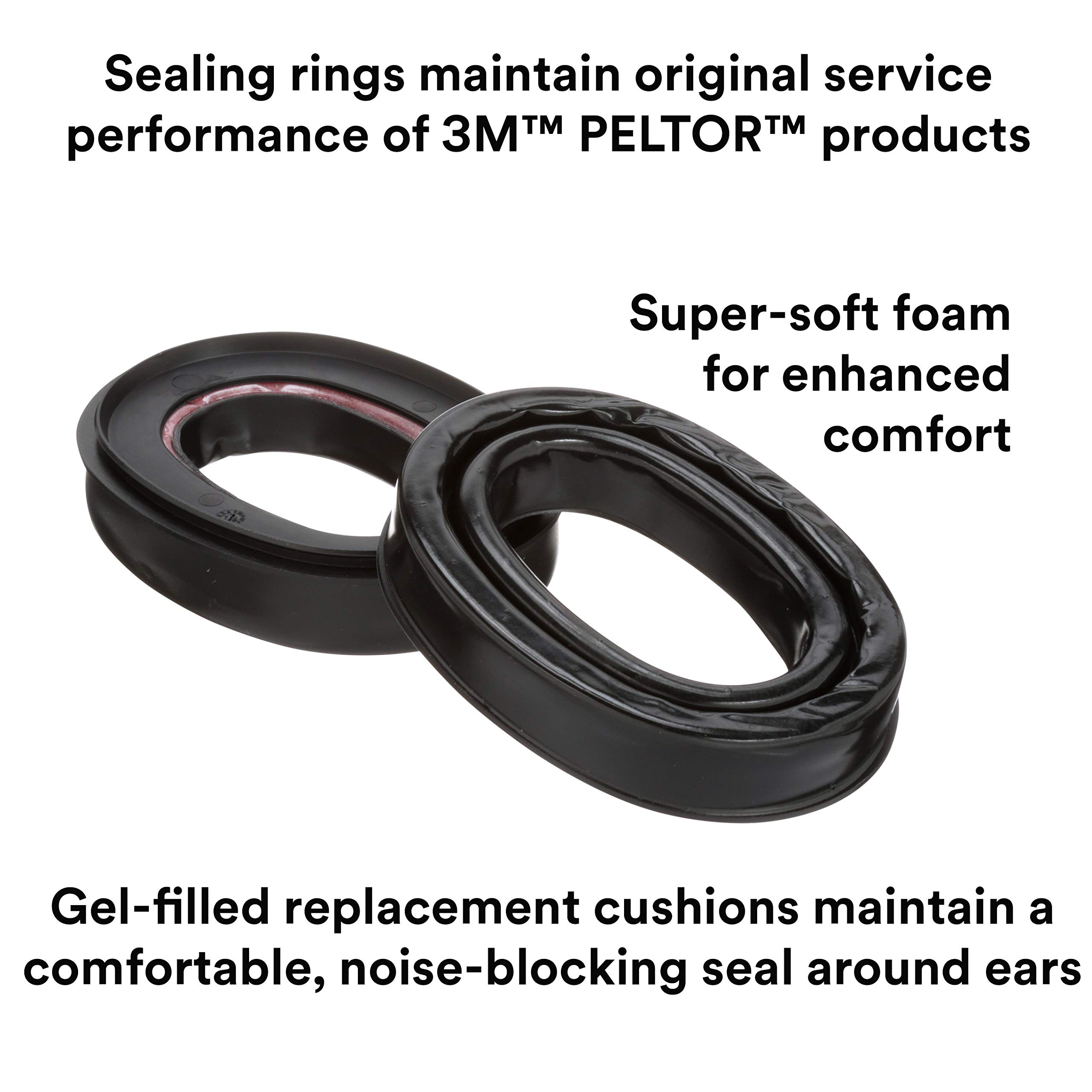 3M Personal Protective Equipment PELTOR Camelback Gel Sealing Rings HY80, Comfort Replacement Earmuff Cushions, Black by 3M Personal Protective Equipment (Image #3)