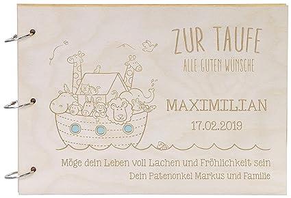 Laublust Foto Album Aus Holz Mit Gravur Arche Noah Personalisiertes Geschenk Zur Taufe 31x22cm Natur A4 Format