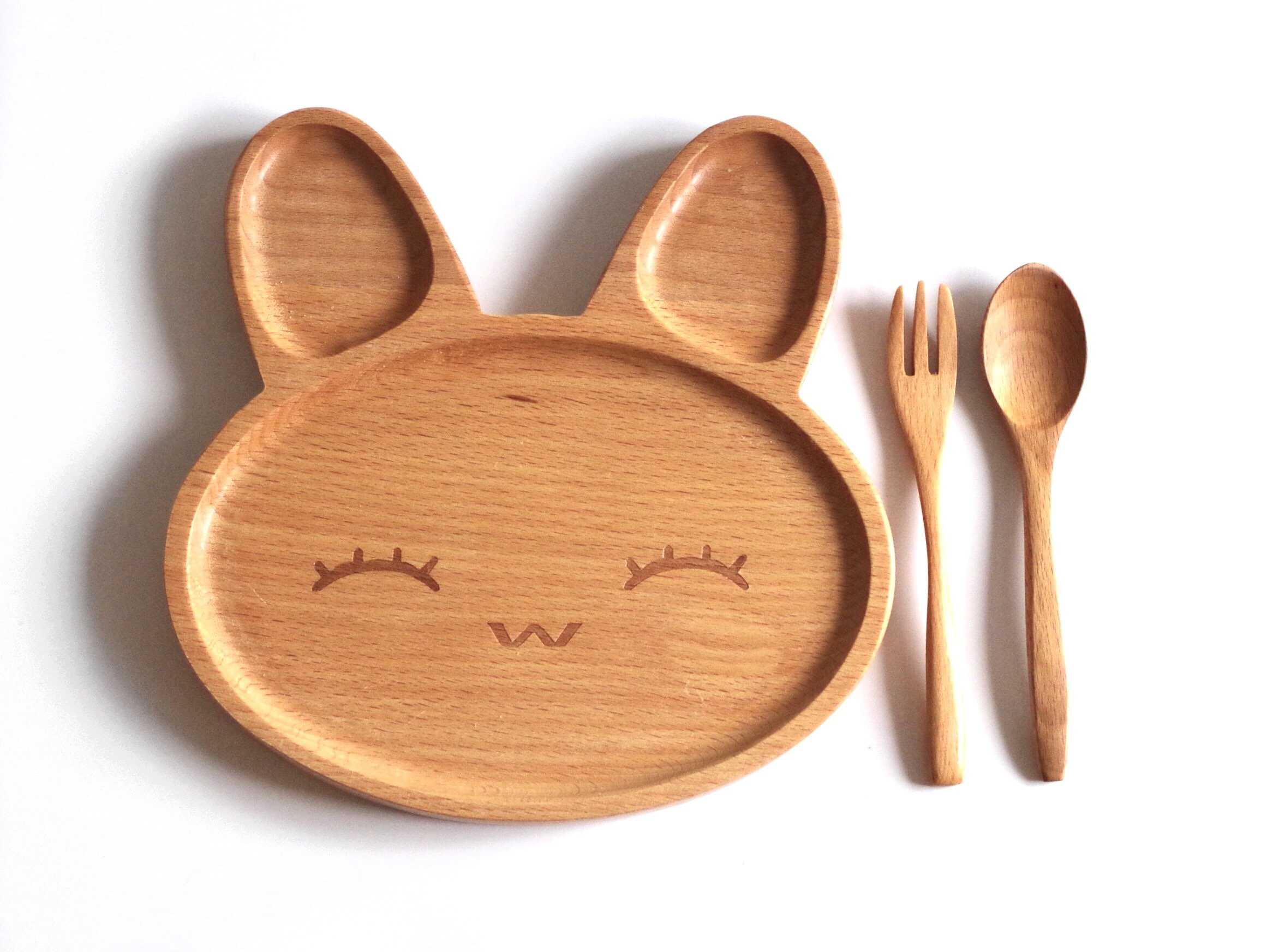 Naife - Cute wooden dish plate for kids and children, Wooden baby bowl, Ideal for children breakfast serving platter.Set 3pcs Includes Plate, Spoon and Fork.
