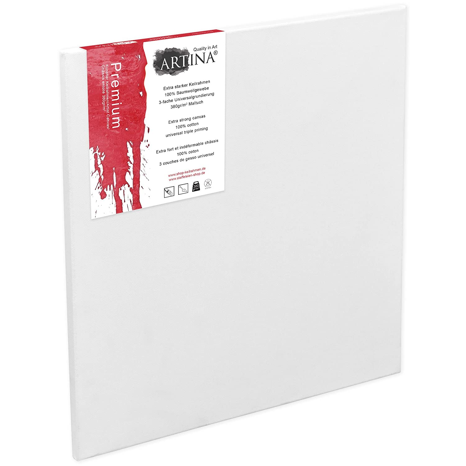 Artina Art Canvases 60 x 80 cm Stretched & Triple Primed Premium Quality Artist Blank Canvas Bulk 23 x 31 Inch