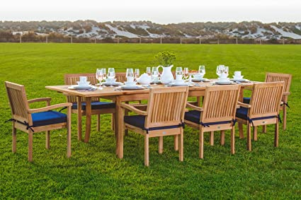 New 9 Pc Luxurious Grade A Teak Dining Set  94u0026quot; Rectangle Table And