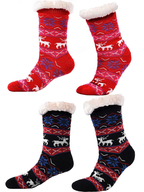 2 Pairs Women's Warm Slipper Socks Non Slip Fuzzy Socks Fleece-lined Socks Christmas Snowflake Slipper Socks