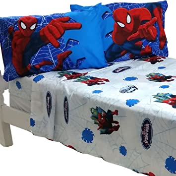4pc Marvel Spiderman Full Bed Sheet Set Superhero Astonish Bedding  Accessories