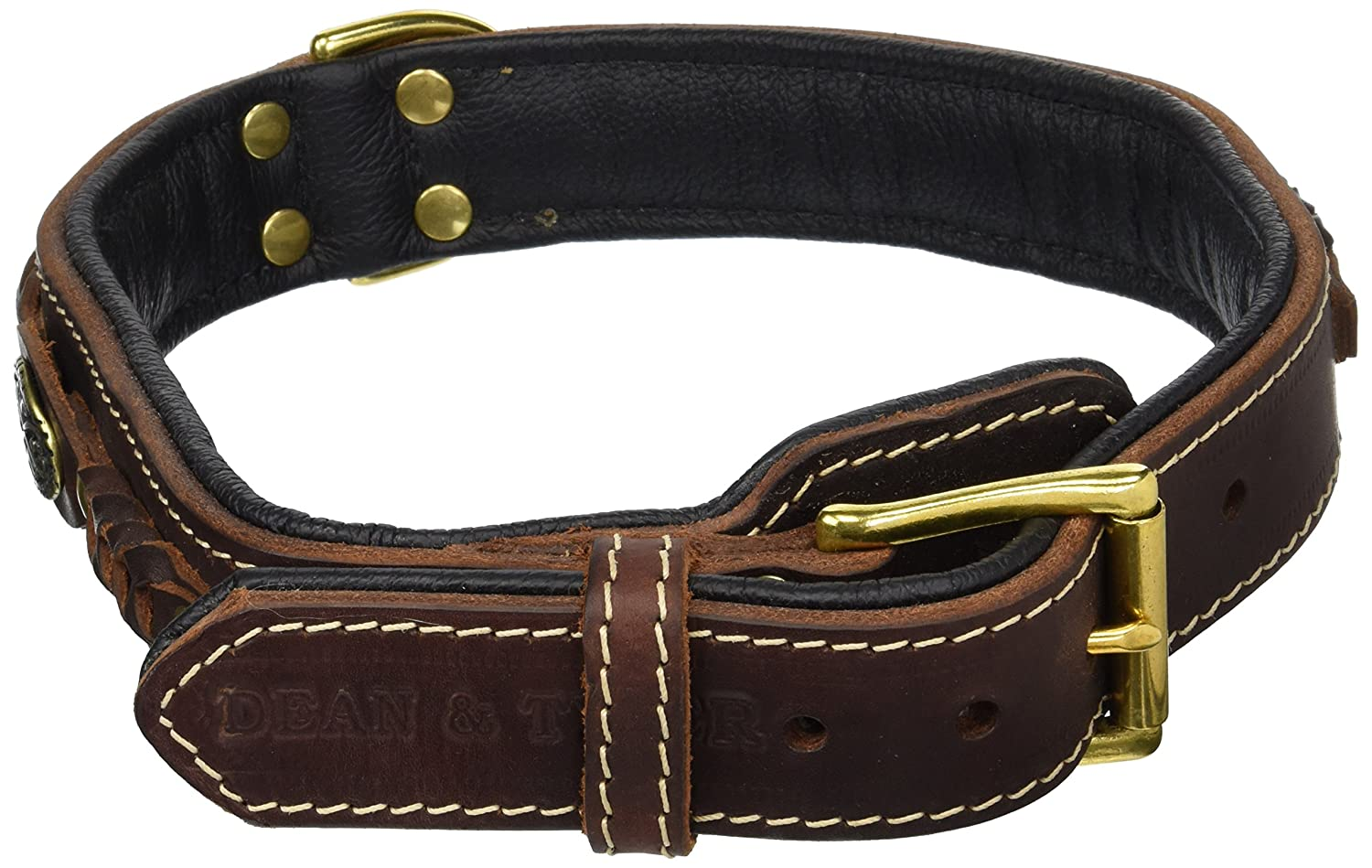 Dean and Tyler DEAN'S LEGEND , Leather Dog Collar with Black Nappa Lining and Brass Hardware Brown Size 26  by 1-1 2  Fits Neck 24  to 28