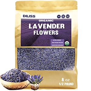 DILISS French Lavender Buds Organic Top Grade Dried Lavender Flower 100% Pure and Natrual Lavender Fresh Fragrance Large Resealable Bag (8OZ)