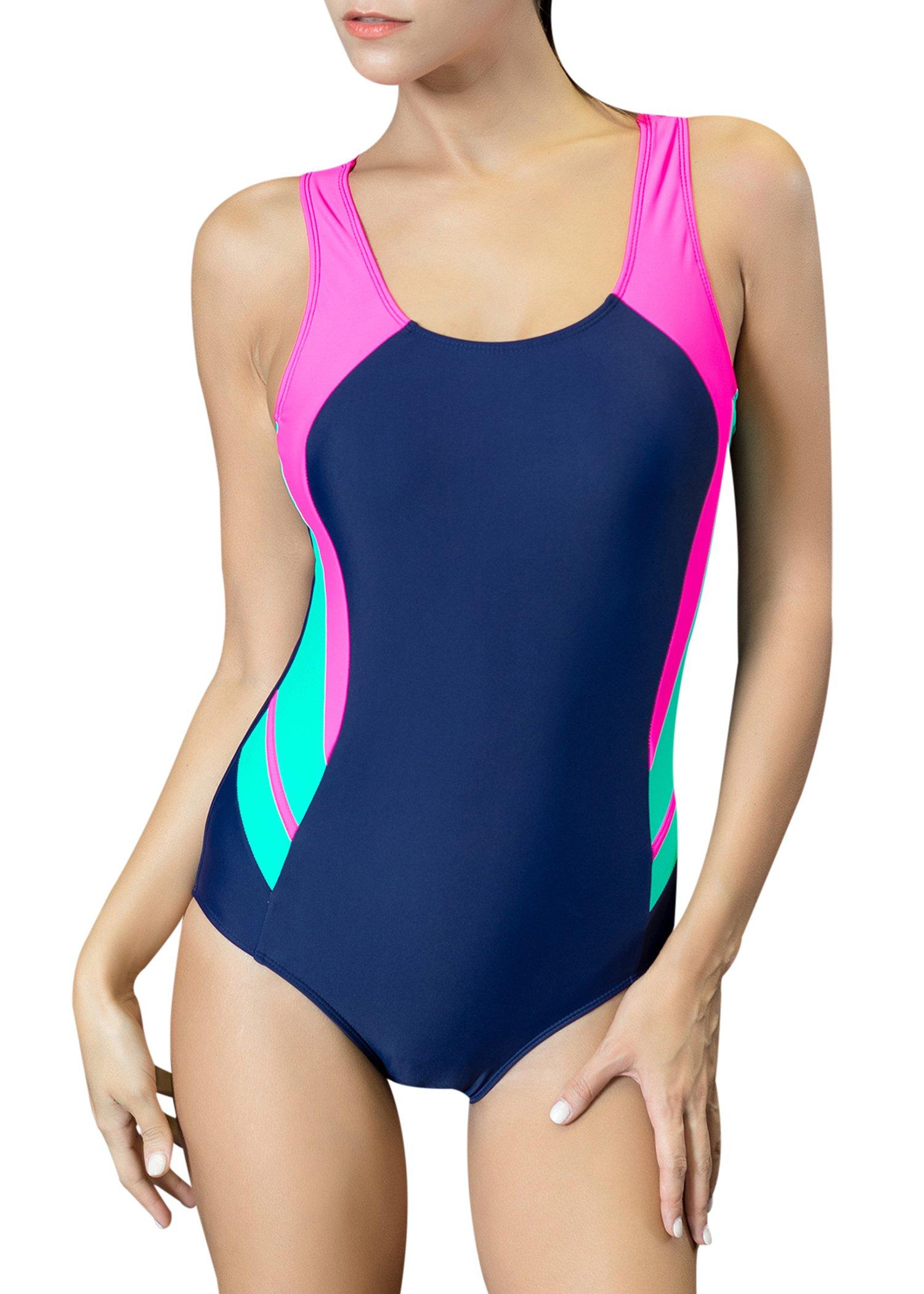 Uhnice Women's One Piece Swimsuits Racing Training Sports Athletic Swimwear (Medium(US6-8), Black/Pink)