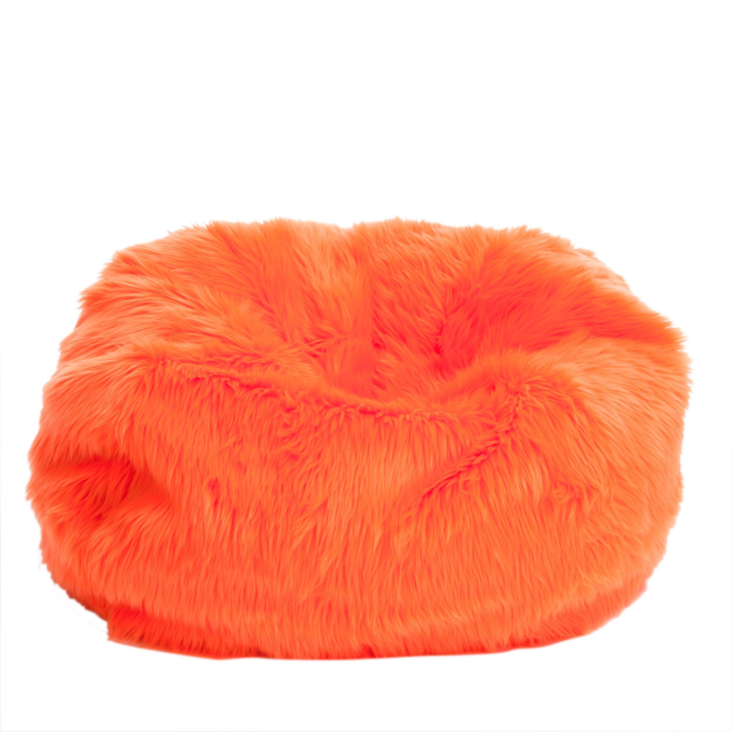 Le Pouf Fur Bean Bag for Children, Neon Orange