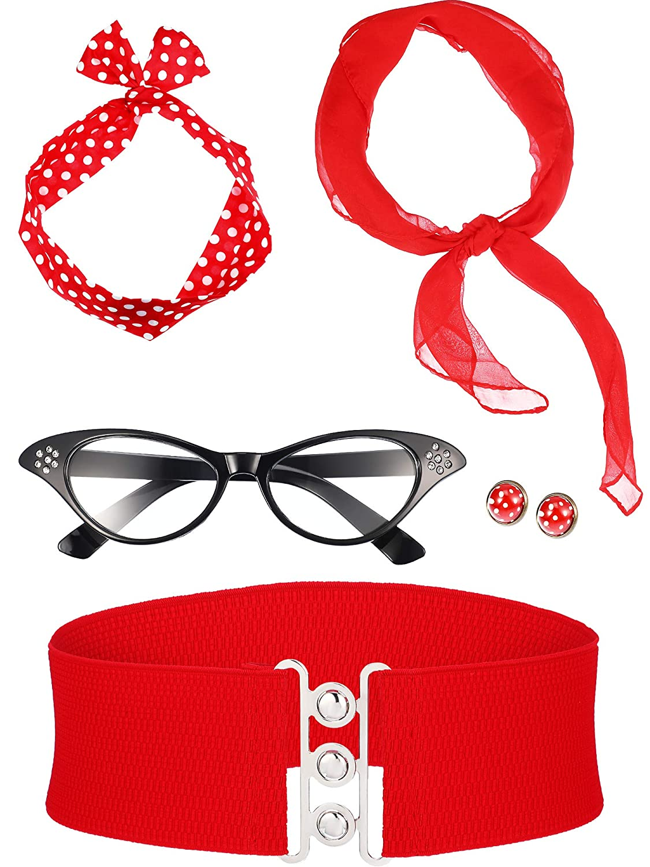 Zhanmai 50s Costume Scarf Polka Dot Headband Earring Cat Eye Glasses Waistband