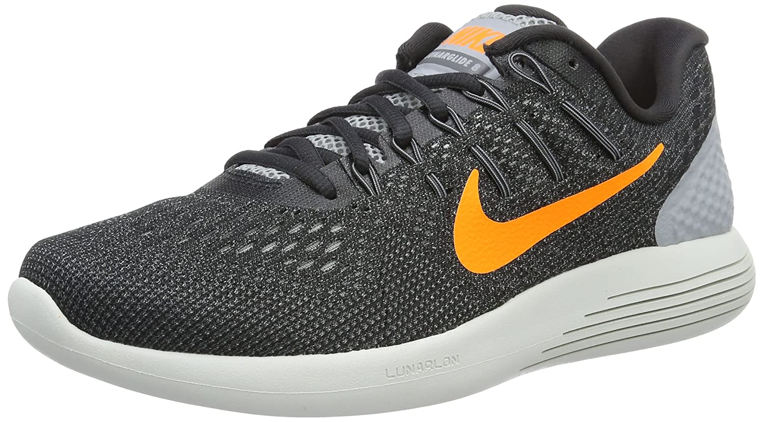 Nike Mens Lunarglide 8, Black / White - Anthracite B01CHGJRFS 8 D(M) US|Grey