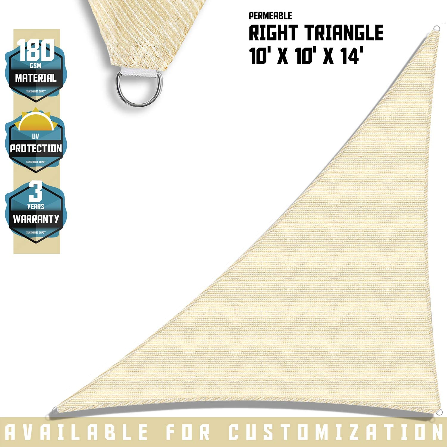TANG Sunshades Depot Sun Shade Sail Right Triangle Permeable Canopy Custom Commercial Standard Beige 10 x10 x14