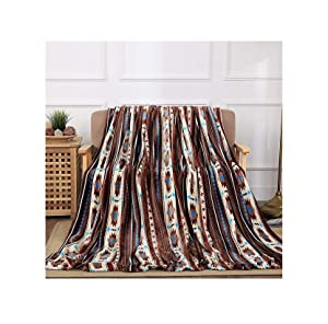 All American Collection Super Soft Ultra Comfort Plush Microfiber Solid Throw Blanket for Couch Home Bedroom Living Room (King, Beverly Coffee Southwest)