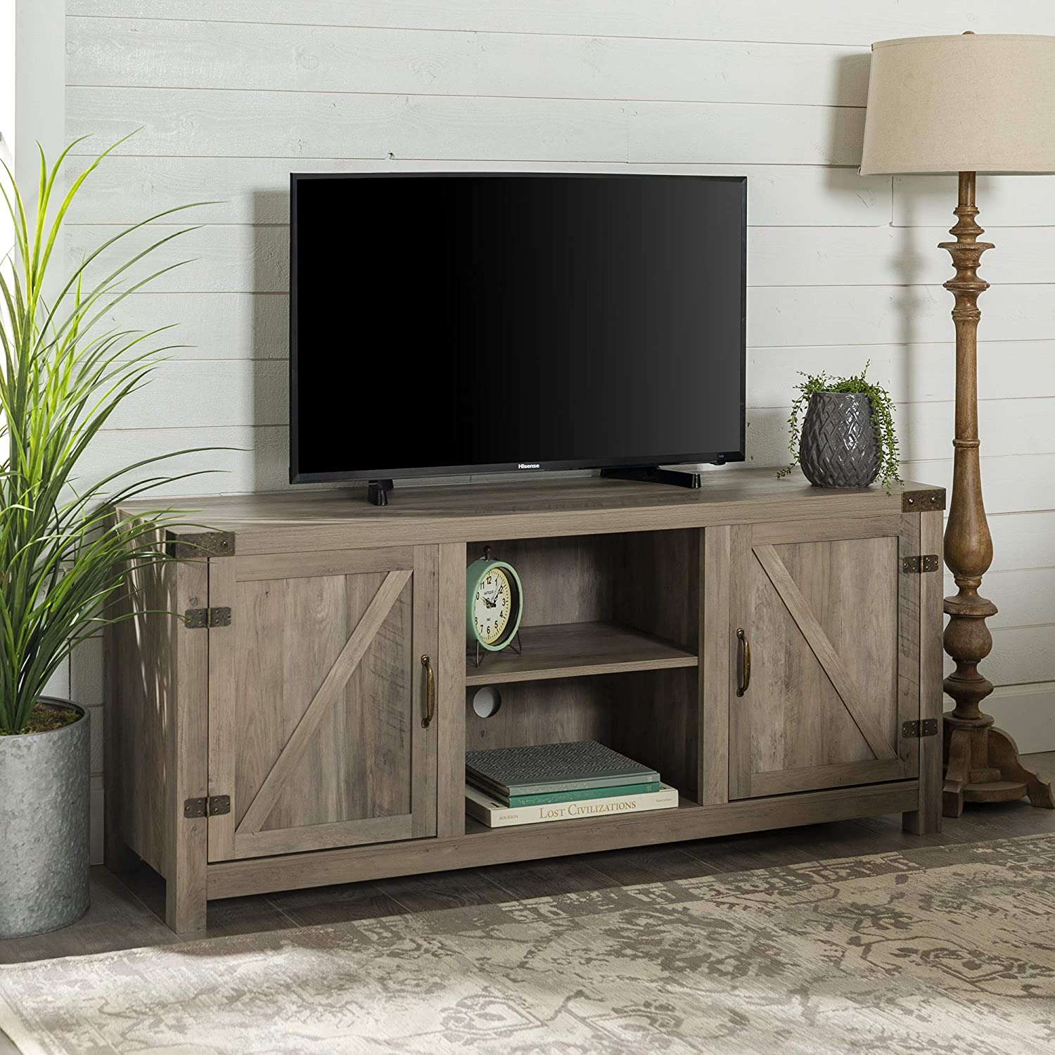 Home Accent Furnishings New TV Console 58 Inch with Sliding Barn Doors and White Oak Finish