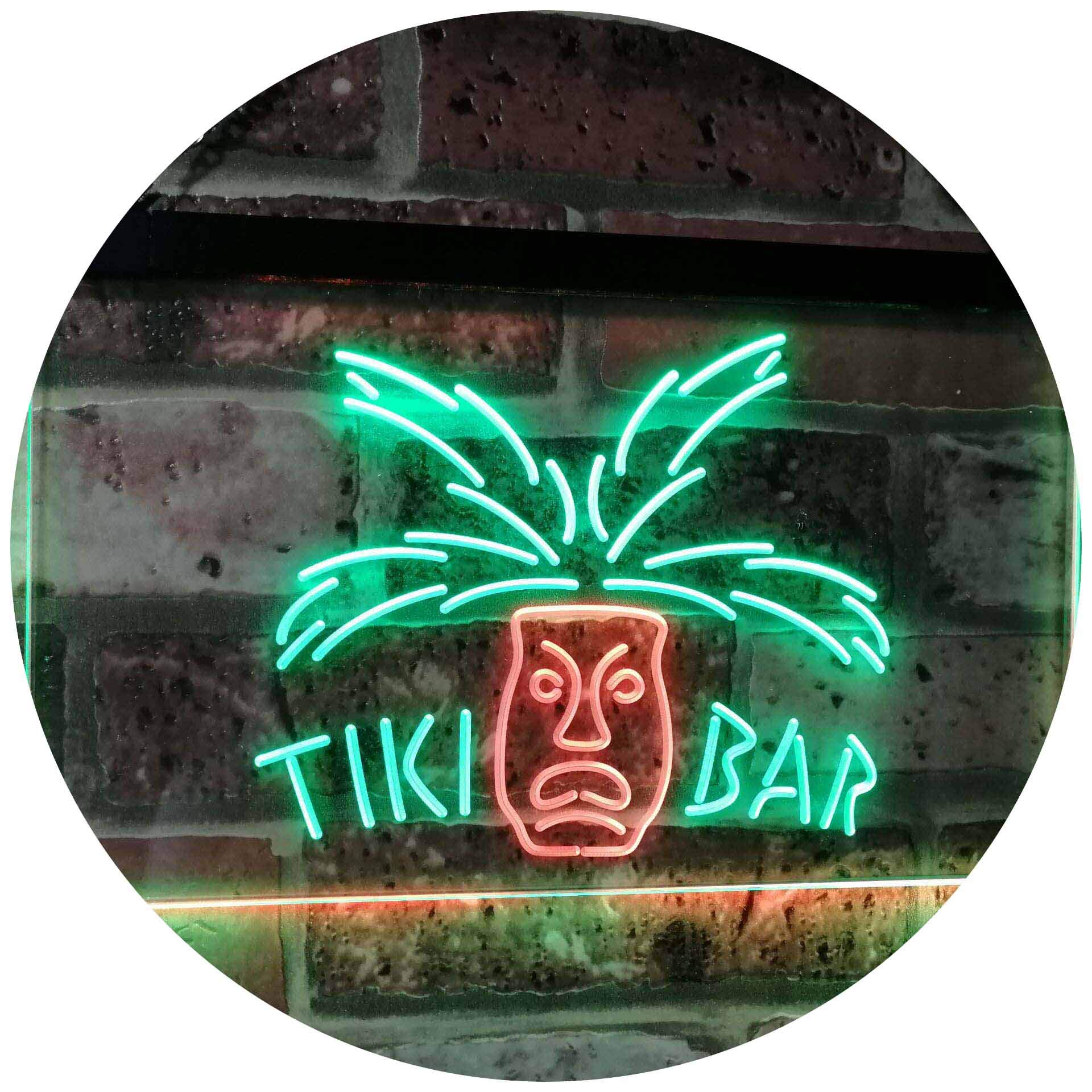 AdvpPro 2C Tiki Bar Mask Pub Club Beer Drink Happy Hour Dual Color LED Neon Sign Green & Red 12'' x 8.5'' st6s32-i2067-gr