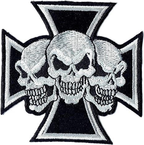 schwarz Aufnäher // Bügelbild 7,2 x 8 cm Chopper Kreuz Patches Aufbügeln