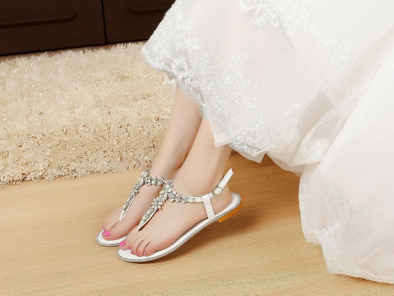 Flats Luxveer Beach Wedding Shoes Women Bead Crystals Beach Flat Bride Wedding Dress Sandals For Party Women,Casual Designer Wedding Dresses