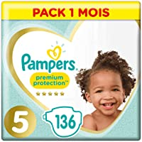 Pampers Premium Protection Taille5, 136Couches, 11-16kg Pack 1 Mois