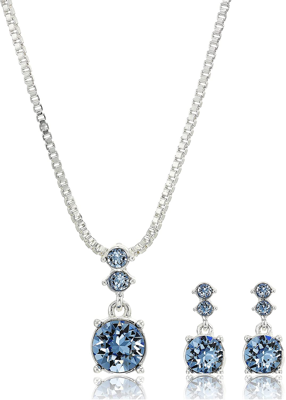 NINE WEST Women's Boxed Necklace/Pierced Earrings Set, Silver/Blue, One Size