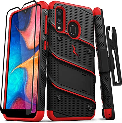 ZIZO Bolt Series Samsung Galaxy A20 Case | Heavy-Duty Military-Grade Drop Protection w/Kickstand Included Belt Clip Holster Tempered Glass Lanyard ...