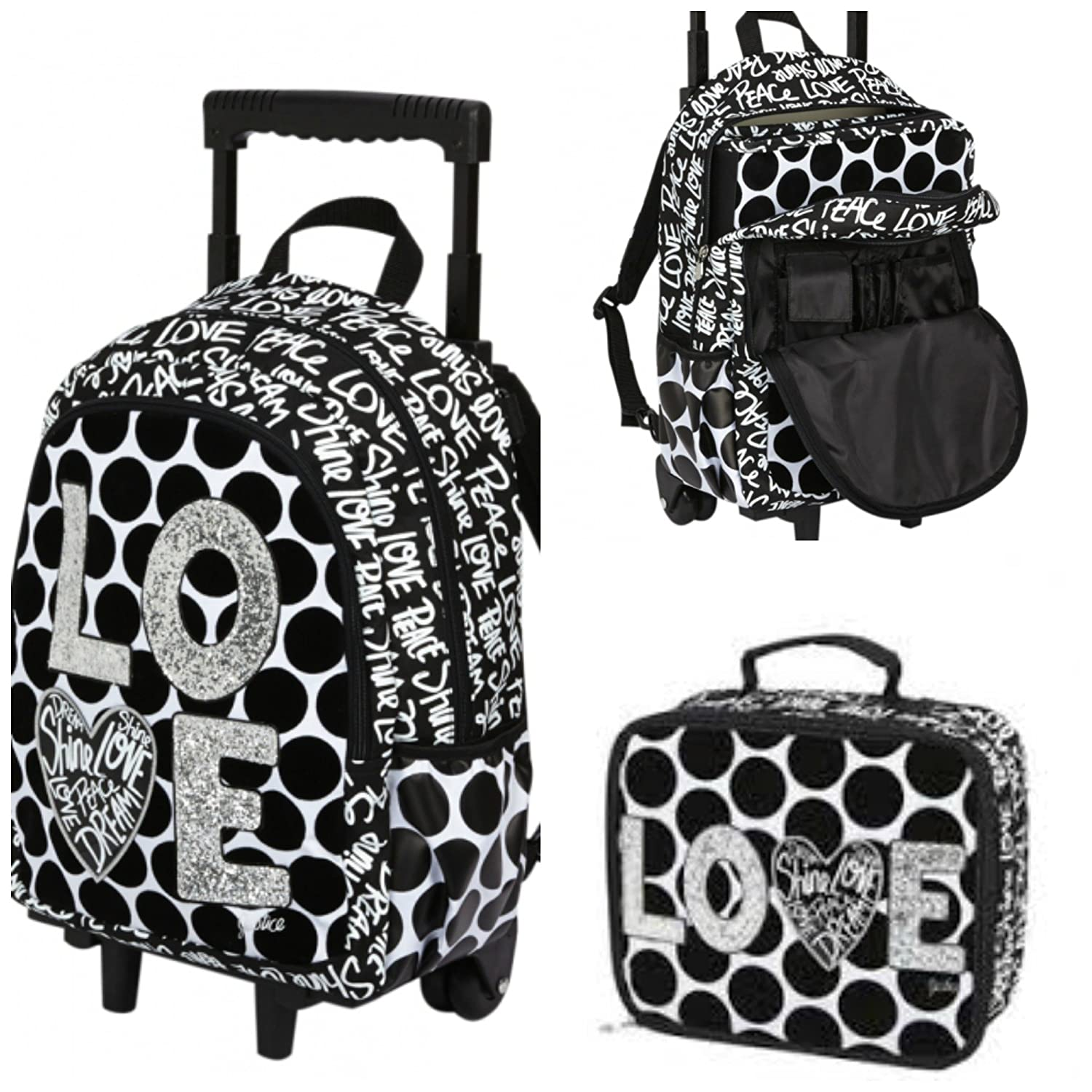 Amazon.com: Justice Love Polka Dot Rolling Backpack & Lunch Tote ...