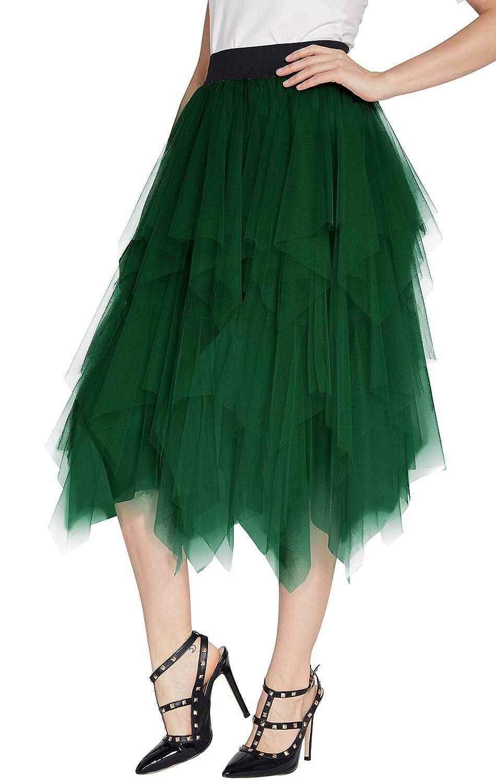 ed11c5365b412c Urban CoCo Women's Sheer Tutu Skirt Tulle Mesh Layered Midi Skirt at Amazon  Women's Clothing store:
