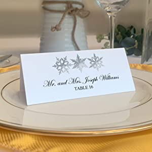 Christmas and Holiday Snowflake Pattern Printable Place Cards, Set of 60 (10 Sheets), Laser & Inkjet Printers - Wedding, Party, Dinner, and Special Events - Made in The USA
