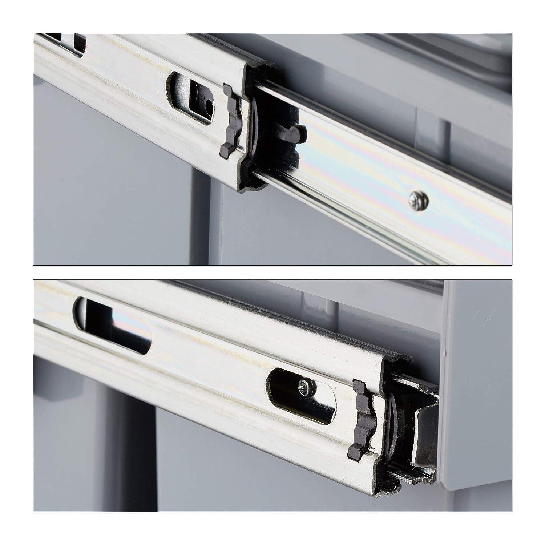 f/ür Biom/üll Kunststoff 3 Beh/älter Deckel Metall grau HxBxT: 35,1 x 34,2 x 48 cm Relaxdays M/ülltrennsystem 3 fach