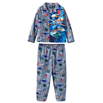 Planes Little Boys' Toddler Button Front Pajama Set with Panel