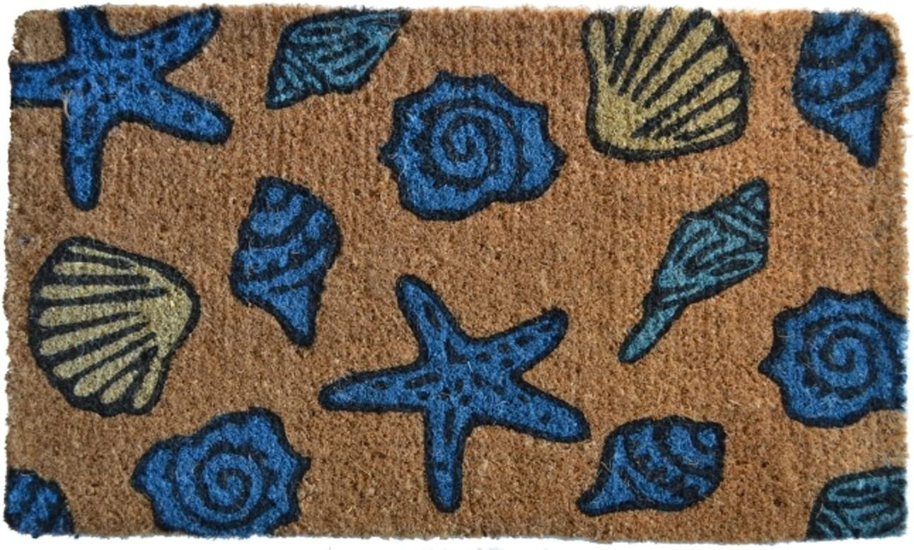 Imports D cor Decorated Coir Doormat, Sea Shells, 18 by 30-Inch
