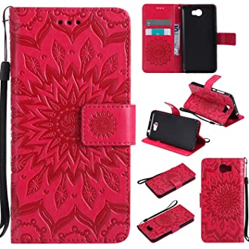 COZY HUT For Huawei Y5 II / Y5 2 Case [Red], PU Leather Sunflower Design  with Kickstand Function and Card Slot Slim Flip Case For Huawei Y5 II / Y5  2