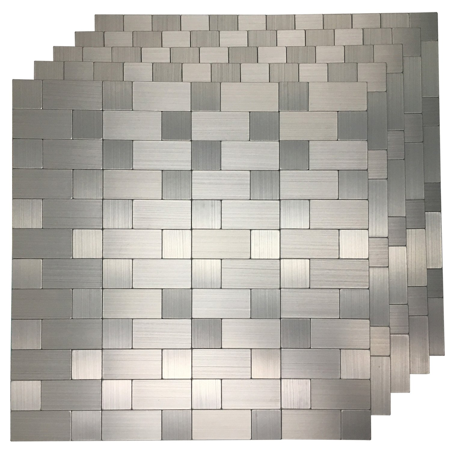Art3d 10-Pack Self-Adhesive Metal Backsplash Peel and Stick Tile for Kitchen, 12'' x 12'' Silver Aluminium Surface by Art3d
