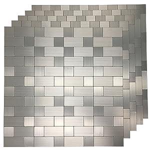 "Art3d 10-Pack Self-Adhesive Metal Backsplash Peel and Stick Tile for Kitchen, 12"" x 12"" Silver Aluminium Surface"
