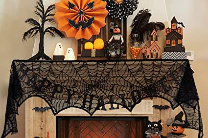 Jollylife 2Ct Halloween Decorations Spiderweb Lace Scarf   Mantel Fireplace  Door Cover Yard Party Supplies Decor
