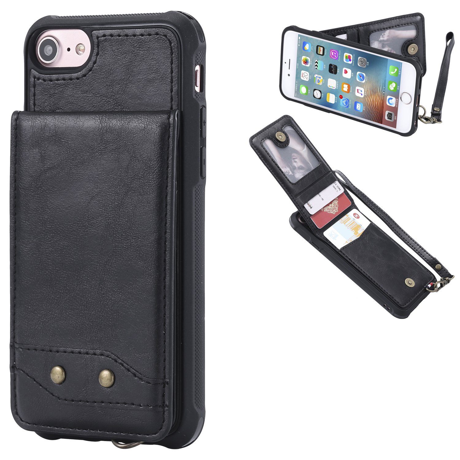 DAMONDY iPhone 6s Case, iPhone 6 Case, Luxury Wallet Purse Card Holders Design Cover Soft Shockproof Bumper Flip Leather Kickstand Magnetic Clasp With Wrist Strap Case for Apple iPhone 6s 6-black