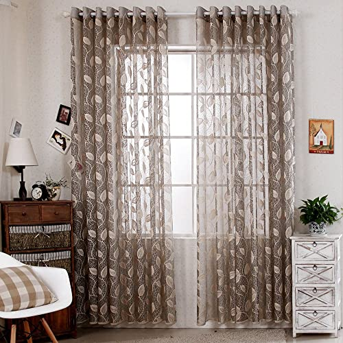 R.LANG Solid Grommet Top Modern Tree Leaf Jacquard Sheer Window Curtain 1 Pair Gray Yellow 66 W X 72 L