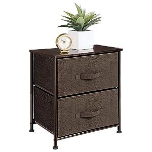mDesign Short Vertical Dresser Storage Tower - Sturdy Steel Frame, Wood Top, Easy Pull Fabric Bins - Organizer Unit for Bedroom, Hallway, Entryway, Closets - Textured Print, 2 Drawers - Espresso Brown