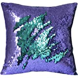 """Mermaid Pillow Case, Play Tailor Magic Reversible Sequin Pillow Cover Throw Cushion Case 16""""X16""""(Teal-Light Purple)"""