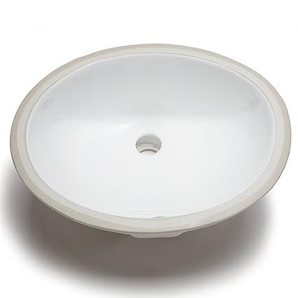 Beau Hahn Ceramic VC012 Small Oval Ceramic Bathroom Sink, White