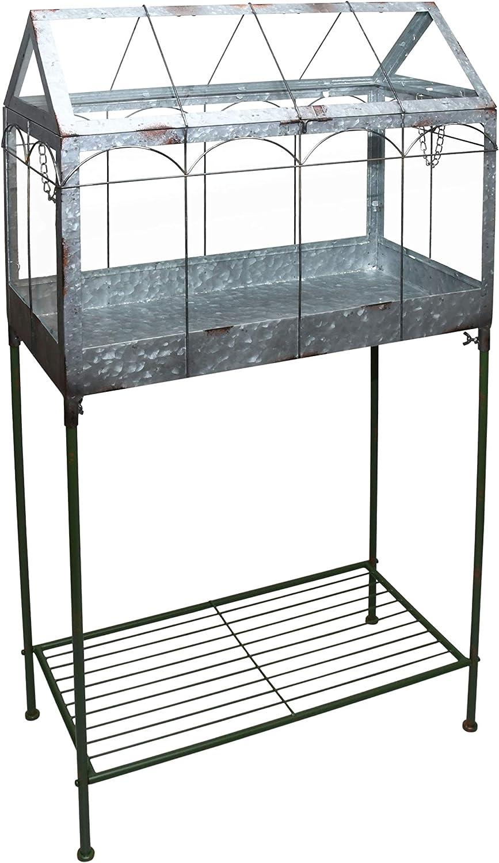 Esschert Design - Invernadero con Soporte (114 cm, Metal y Cristal), diseño de Flores