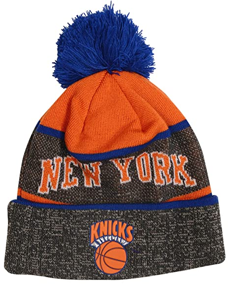 online retailer 8f393 41f2b Image Unavailable. Image not available for. Color  Mitchell   Ness New York  Knicks NBA Stripe TPU Pom Knit Hat