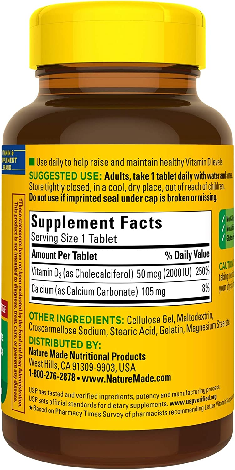 Nature Made Vitamin D3 2000 IU (50 mcg) Tablets, 220 Count for Bone Health† (Packaging May Vary): Health & Personal Care