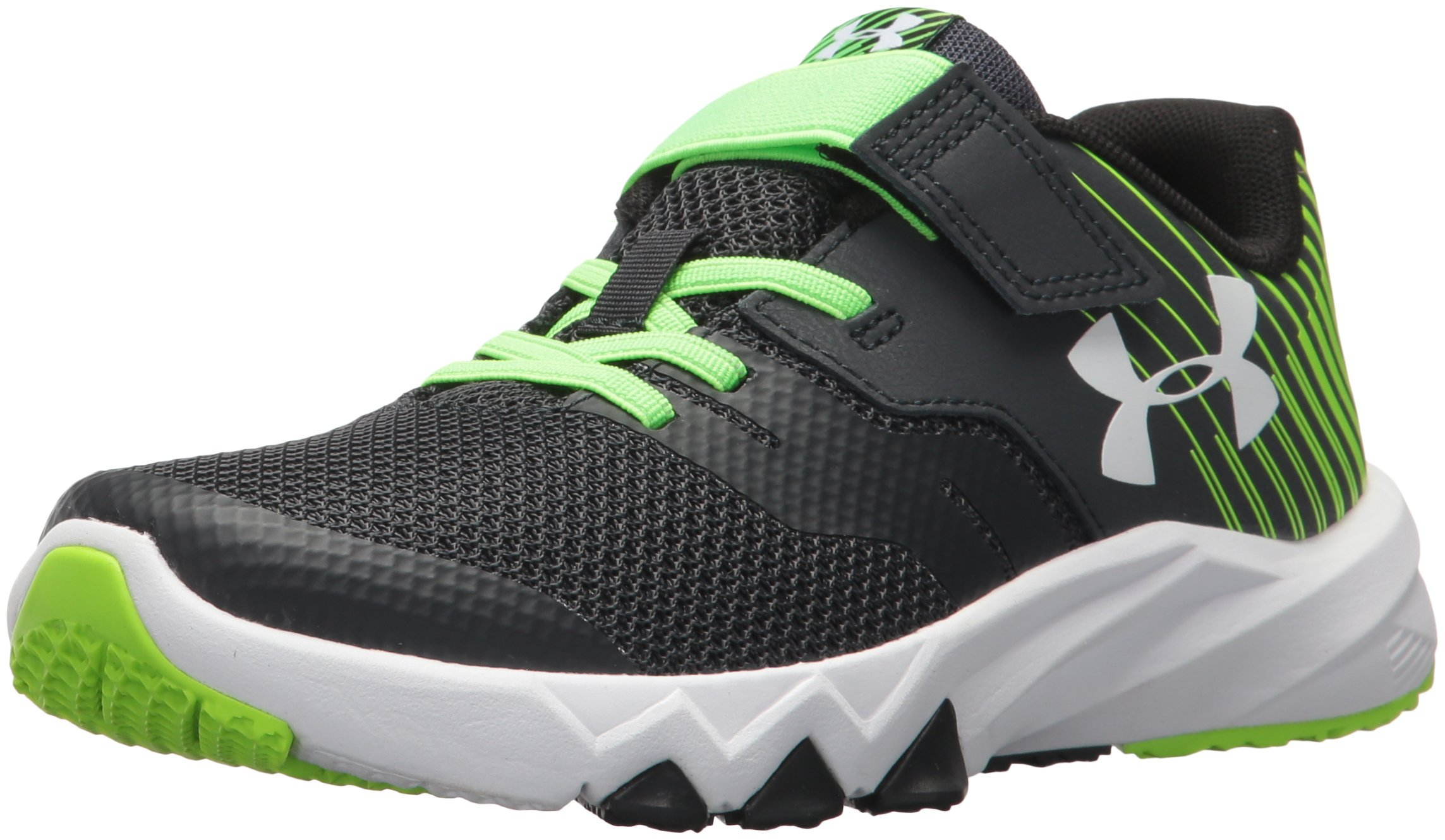Under Armour Boys' Pre School Primed 2 Adjustable Closure, Anthracite (101)/Hyper Green, 3 by Under Armour