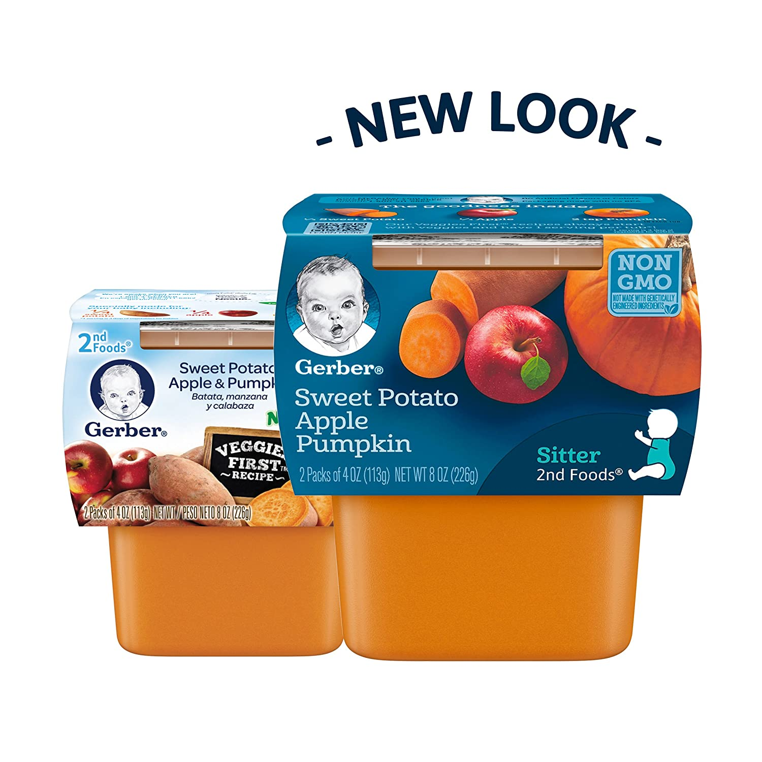 Gerber 2nd Foods Sweet Potato Apple Pumpkin Baby Food, 2 count, 8 oz, (Pack of 8): Amazon.com: Grocery & Gourmet Food