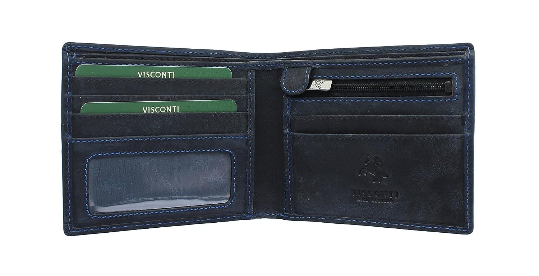8b43e8e8f Visconti Cartera SHIELD de Cuero Engrasado 707 Azul Petróleo RFID: Amazon.es:  Equipaje