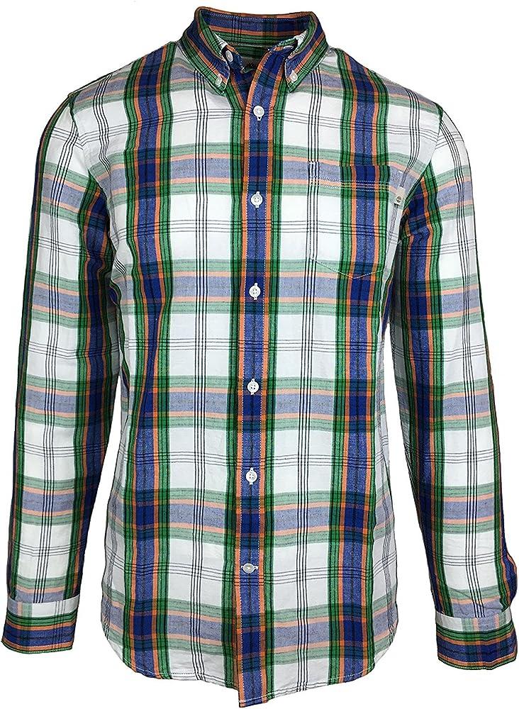 Camisa de botones de tela escocesa y cuadros de Gale River para hombres (peque?a, azul y naranja): Amazon.es: Ropa y accesorios