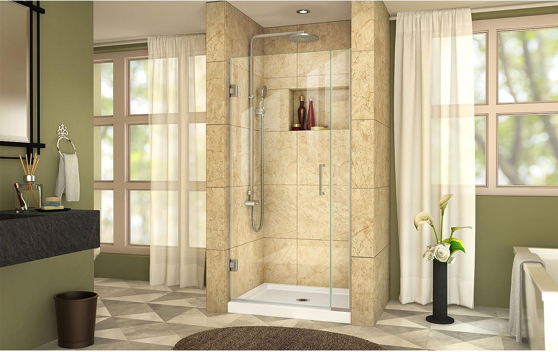 W x 72 in DreamLine Unidoor Plus 57 1//2-58 in H Frameless Hinged Shower Door in Satin Black SHDR-245757210-09
