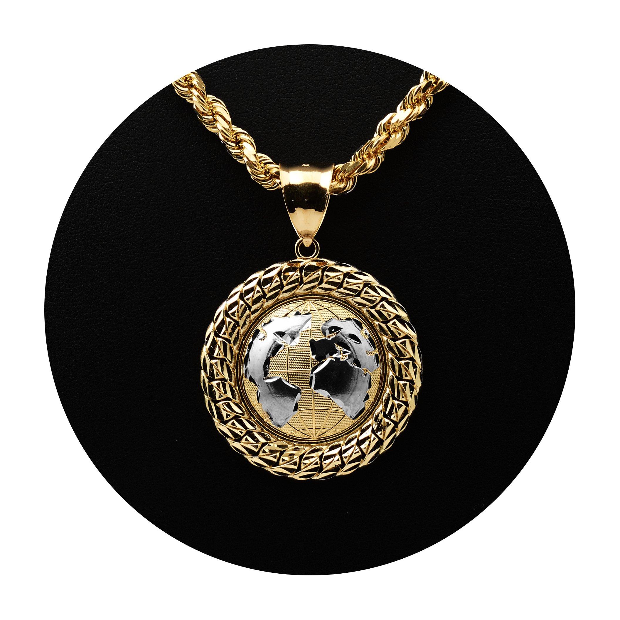 MR. BLING10K Yellow Gold Two-Tone World Map Globe Charm Pendant w/ Cuban Link Border (1.87'' x 1.34'')